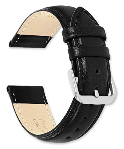 (deBeer Brand Smooth Leather Watch Band (Silver & Gold Buckle) - Black 19mm (Short Length))