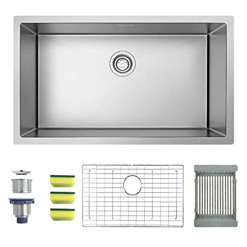MENSARJOR 32'' x 19'' Single Bowl Kitchen Sink 16 Gauge Undermount Stainless Steel Kitchen Sink, Bar or Prep Kitchen sink (White Undermount Kitchen Sink 30)