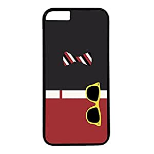 Hard Back Cover Case for iphone 6 Plus,Cool Fashion Black PC Shell Skin for iphone 6 Plus with Bow and Glasses