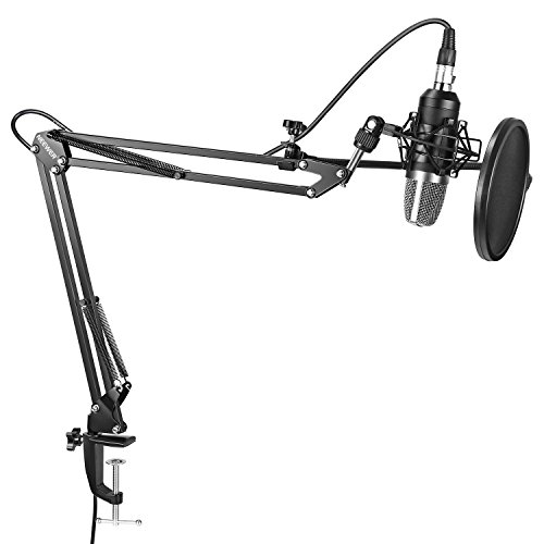 Neewer NW-7000 Professional Studio Condenser Microphone and Adjustable Suspension Scissor Arm Stand with Shock Mount, Pop Filter and Table Mounting Clamp Kit for Broadcasting and Sound Recording by Neewer