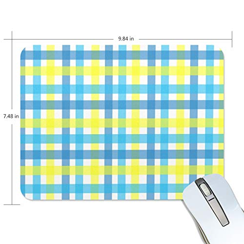 - Gingham-Plaid-Yellow-Aqua-Blue-1525372 Mouse Pad,Non-Slip Rubber Base Desk Gaming Mouse pad for Laptop,Computer & PC