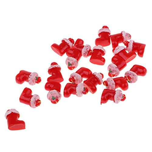 KESOTO ドールハウス飾り クリスマス ベル サンタクロースソックス 模型 1:12スケール 装飾 2カラー 全20点 - 赤の商品画像