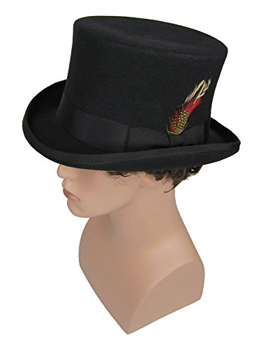 Men's Victorian Style Coachman Top Hat with Feather Black (Medium (22.5 in. / 58 cm.)) (Dickens Dress)