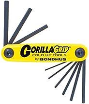 Bondhus 12591 GorillaGrip Juego de 9 llaves plegables hexagonales, tamaños .050-3/16 pulgadas
