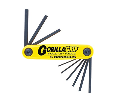 Bondhus 12591 GorillaGrip Set of 9 Hex Fold-up Keys, sizes .050-3/16-Inch (Set Wrench Professional Hex)