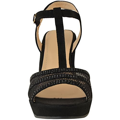 Mujer Plataforma Fashion Alto Tacón Nuevo Boda Thirsty Negro Medio Abierta Ante Pedrería De Punta Heelberry Artificial Sandalias Cuña rIEXxE