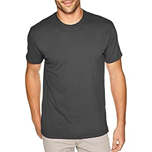Next Level Apparel Men's Premium Fitted Sueded Crewneck T-Shirt, Heavy Metal, Large