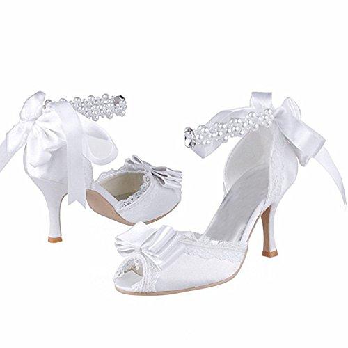 Minitoo ,  Damen Modische Hochzeitsschuhe White-8cm Heel