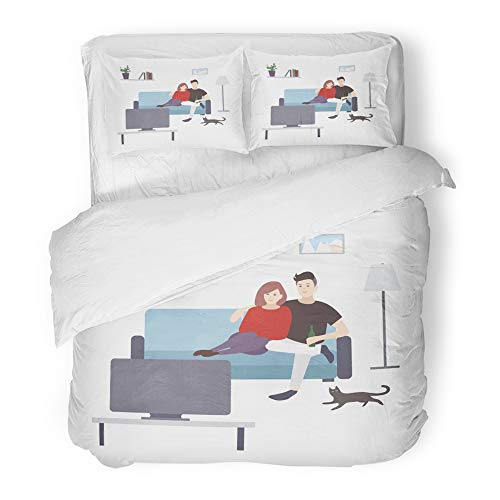 Emvency Bedding Duvet Cover Set Twin (1 Duvet Cover + 1 Pillowcase) Cute Male and Female Cartoon Characters Sitting On Cozy Couch and Watching Tv Hotel Quality Wrinkle and Stain Resistant by Emvency