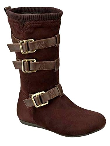 System-3 Womens Mid Calf Faux Suede Slouchy Boots, Brown 6 B (M) US