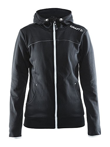 Craft Sportswear Women's Leisure Full Zip Training Athletic Hooded Jacket, Black/Platinum, ()