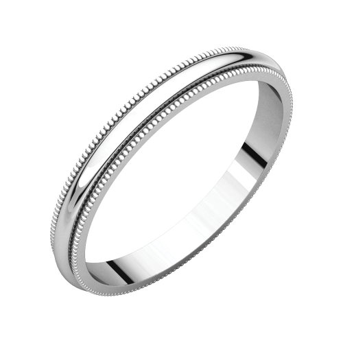 Platinum Milgrain Band - Bonyak Jewelry Platinum 2.5 mm Milgrain Band - Size 5.5