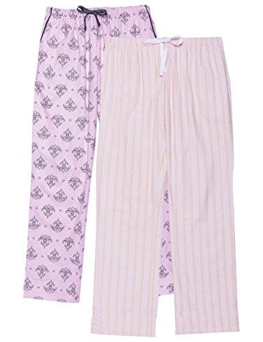 Fleur Stripe - Noble Mount Women's Flannel Lounge Pants 2-Pack - Stripe-Fleur Pink - Large