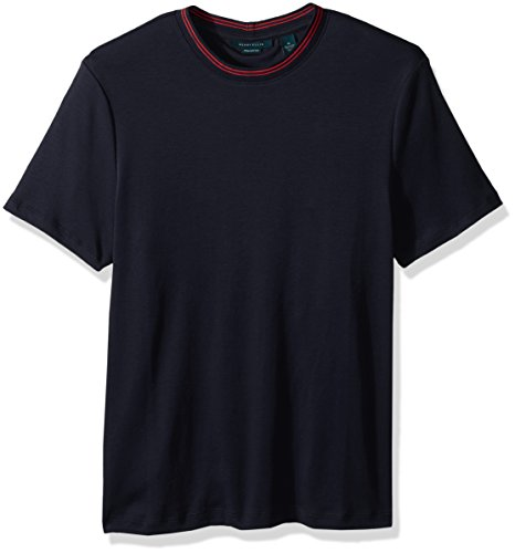 Perry Ellis Men's Short Sleeve Pima Cotton Crew Shirt, Dark Sapphire, (Pima Cotton Coat)