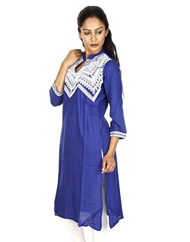 Bellissima Fogliame Kurti ricamato Blu Cotone medio Con Rajrang