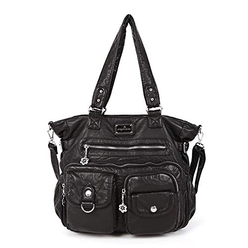 (JBAG-one PU Leather Washed Handbags,Women Shoulder Bags,Hobos Messenger Bags, Casual Totes,Black)