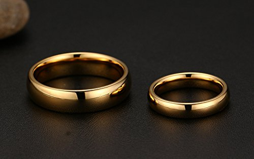 Couples 6mm/4mm Gold Plated-tone Domed High Polished Plain Tungsten Wedding Ring Band for Men&women by Mealguet (Image #3)