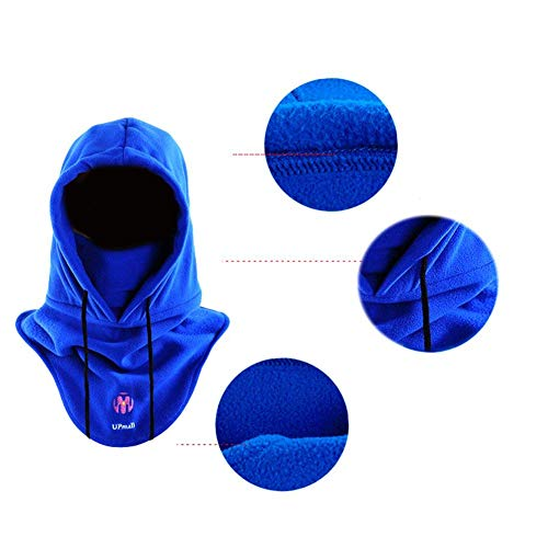 UPMALL Tactical Balaclava Full Face Mask Fleece Warm Winter Outdoor Sports Mask Wind-Resistant Hood Hat (Blue)