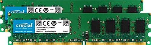 Crucial 2GB kit (1GBx2), 240-pin DIMM, DDR2 PC2-6400,