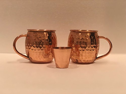 Scash Set of 2 Handcrafted Copper Moscow Mule Mugs Hammered Finish, 16 Oz. Gift Set Boxed with Shot Glass Product.