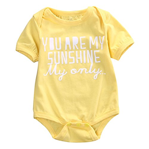 "Rainbowlight Newborn Infant Baby Clothes T-shirt,Baby Tee ""You're My Sunshine"" One piece Romper Set, Short Sleeve BabySuit (90/6-12 Months, Yellow)"