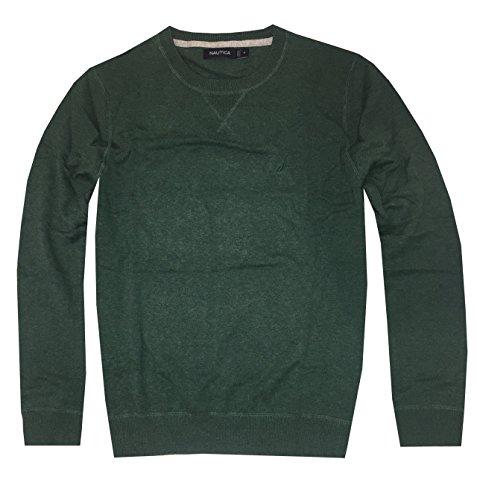 Nautica Men Logo Crew Neck Cotton Classic Sweater Pullover (XXL, Dark green)