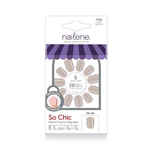 Nailene So Natural Nail, Taupe High Gloss, 28 Count