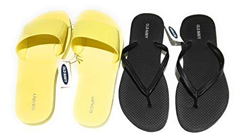 Old Navy Flip Flop Sandals for Woman, Great for Beach or Casual Wear (7, Yellow Jelly Slide and -