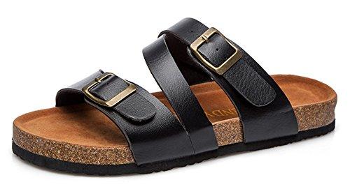 Women's Leather Toe-Loop Buckle Thong Flip Flop Flats Sandals Black 10 US ()