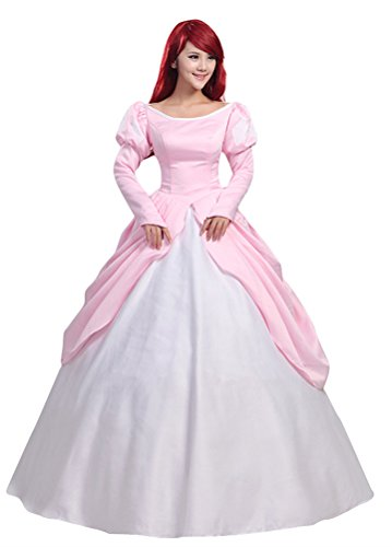 COSKING Princess Ariel Costume for Women, Deluxe Halloween Cosplay Dress Pink Layered Ball Gown (Small)]()