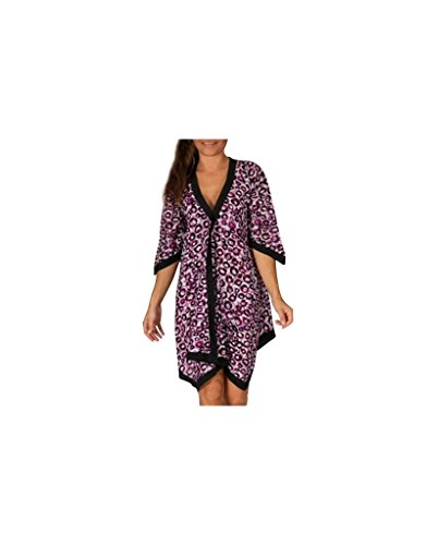 Modeincoton - Algodón larga túnica asimétrica del cuello V manga 1/2 Modeincoton TUM069 Multicolor