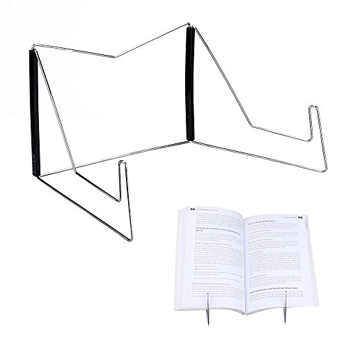 Book Stands,Fold-n-Stow Metal Bookstand,Music Book Easel Display Holder,Adjustable Reading Stand,Small Book Rest for Kitchen Counertops,Bookrest for Hardcover Textbook,Ipad,Document,Cookbook,Recipe (Holder Adjustable Document)
