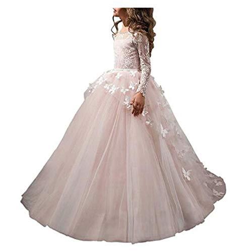 Us Angels First Communion - Angel Dress Shop Flower Girl Dress Lace Butterflies Appliques First Communion Princess Ball Gown Wedding Dress(BP6)