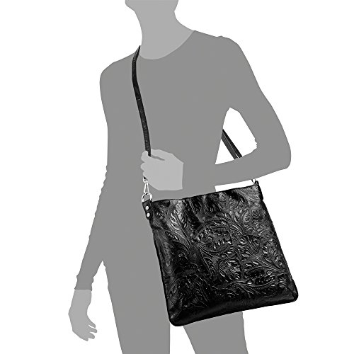 Couleur in en laquée cuir à naturel NOIR cm authentique Made florale Sac Noir avec femme main Sac italiana pelle ITALY FIRENZE Clair ARTEGIANI à main Vera gravure 35x32x5 femme cuir en pUqwwR7