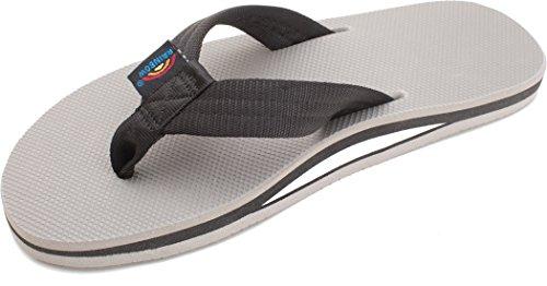 Rainbow Men's Single Layer Classic Rubber flip Flops Black/Grey kALnO