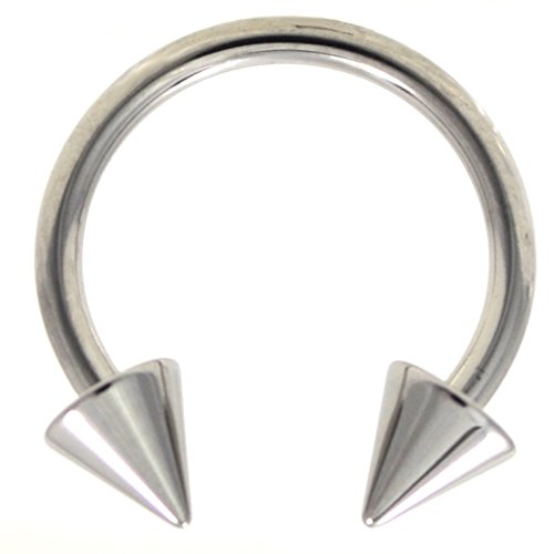 Ring Horseshoe Cone - 14G(1.6mm) Stainless Steel Circular Piercing Barbells Horseshoe Rings w/Spike Ends (Sold in Pairs) (14 Gauge 1/2