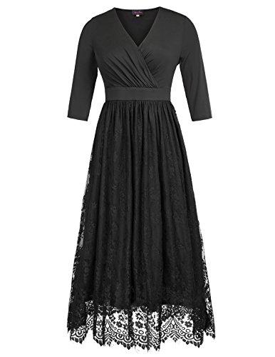 Hanna Nikole Women's Plus Size Lace 3/4 Sleeves Evening Gown Party Long Maxi Dress Size (Lace Bustier Dress)