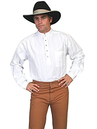 Victorian Men's Shirts- Wingtip, Gambler, Bib, Collarless Railroader Shirt Scully Rangewear Mens Rangewear Natural Old Fashioned Railroader Shirt - Rw015 Wht $45.70 AT vintagedancer.com