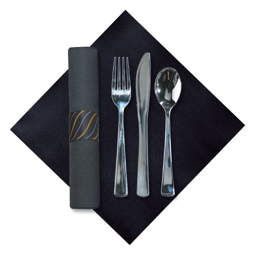 (Hoffmaster 119987 FashnPoint CaterWrap Pre-Rolled Dinner Napkin and Heavyweight Cutlery, Gold/Silver Stripe, Black/Metallic (Case of 100))