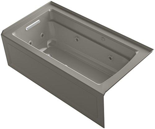 KOHLER K-1122-XHGLA-K4 Archer 60-Inch x 32-Inch Alcove Whirlpool Bubble Massage Air Bath with Integral Apron, Tile Flange and Left-Hand Drain, Cashmere