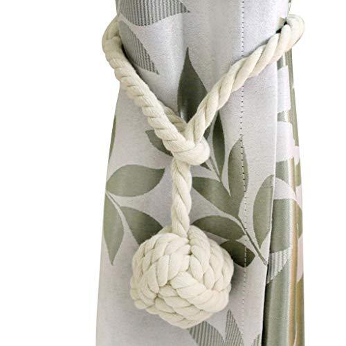BTSKY 2 Pieces Curtain Rope Holdbacks- Decorative Hand-Knitted Cotton Window Curtain Tiebacks (Beige)