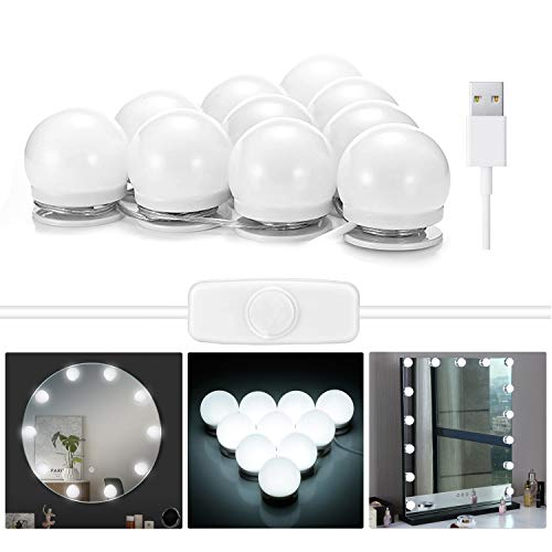 Hollywood Style Vanity Mirror Lights, EleLight LED Makeup Vanity Light Kit with 10 Dimmable Bulbs, USB Power Supply 6000K Flexible Lighting Fixture Strip in Dressing Room (Mirror Not Included)