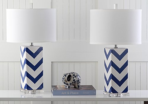 Safavieh Lighting Collection Chevron Stripe Table Lamp, Navy, Set of (Lamp Stripes Table Lamp)