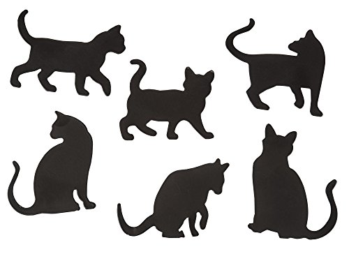 Fridge Magnets - Set of 6, Cat Refrigerator Magnets, Magnetic Kitty Silhouettes