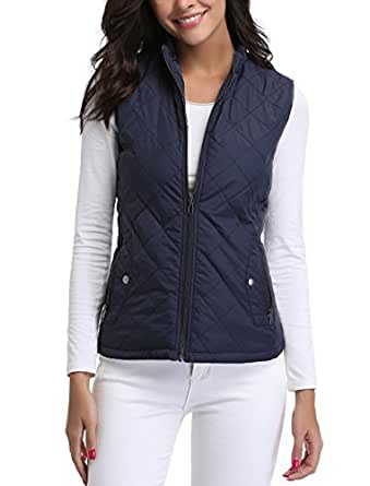 miss moly Women's Quilted Jacket Zip Up Padded Quilted Zip Vest Navy Blue - L