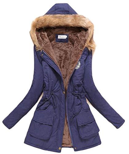 Parka Fit Cappuccio Outwear Inverno Slim Giacca Con Pelliccia Lungo Navy Collo Eku Donne Cappotto Blu Caldo Di RqW7w1Of