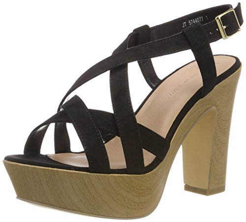 Foot Open Women's Look Heels Black Party New Wide Toe 1 Black awqtxFwn