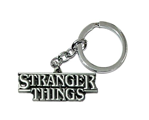 (J&C Family Owned Brand Stranger Things Text Silver Keychain w/Gift Box )