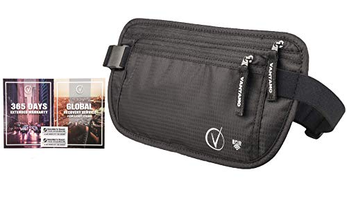 Travel Wallet Money Belt, RFID Protected, Fits Passport with cover, Includes Global Recovery Tags (Regular, Black)