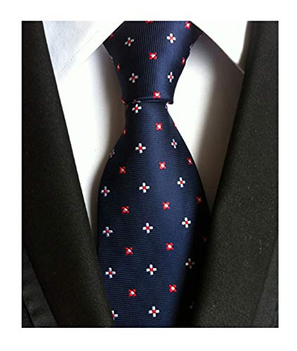 Patterned Tie Red (Navy Blue Red White Floral Silk Cravat Ties Extra Long Neckties for Tall Men Boy)